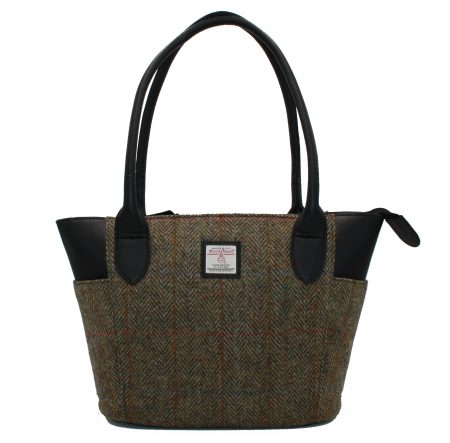 Large Tote bag green in Harris Tweed
