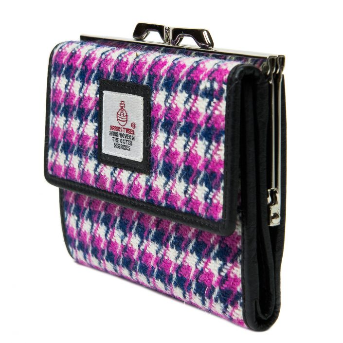 Medium purse pink Houndstooth