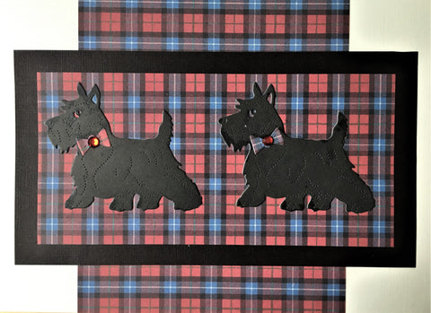 Scotties on Tartan Card