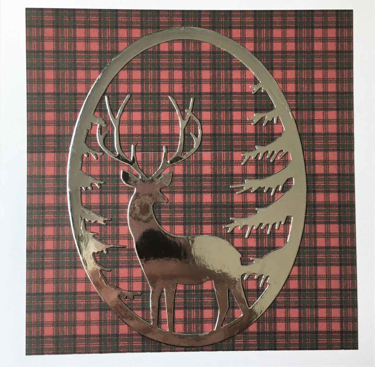 Scottish Stag on Red & Green Tartan Card