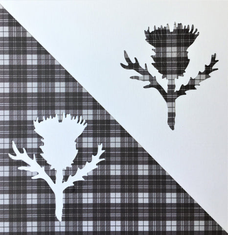 Scottish Thistle on Black Tartan Card