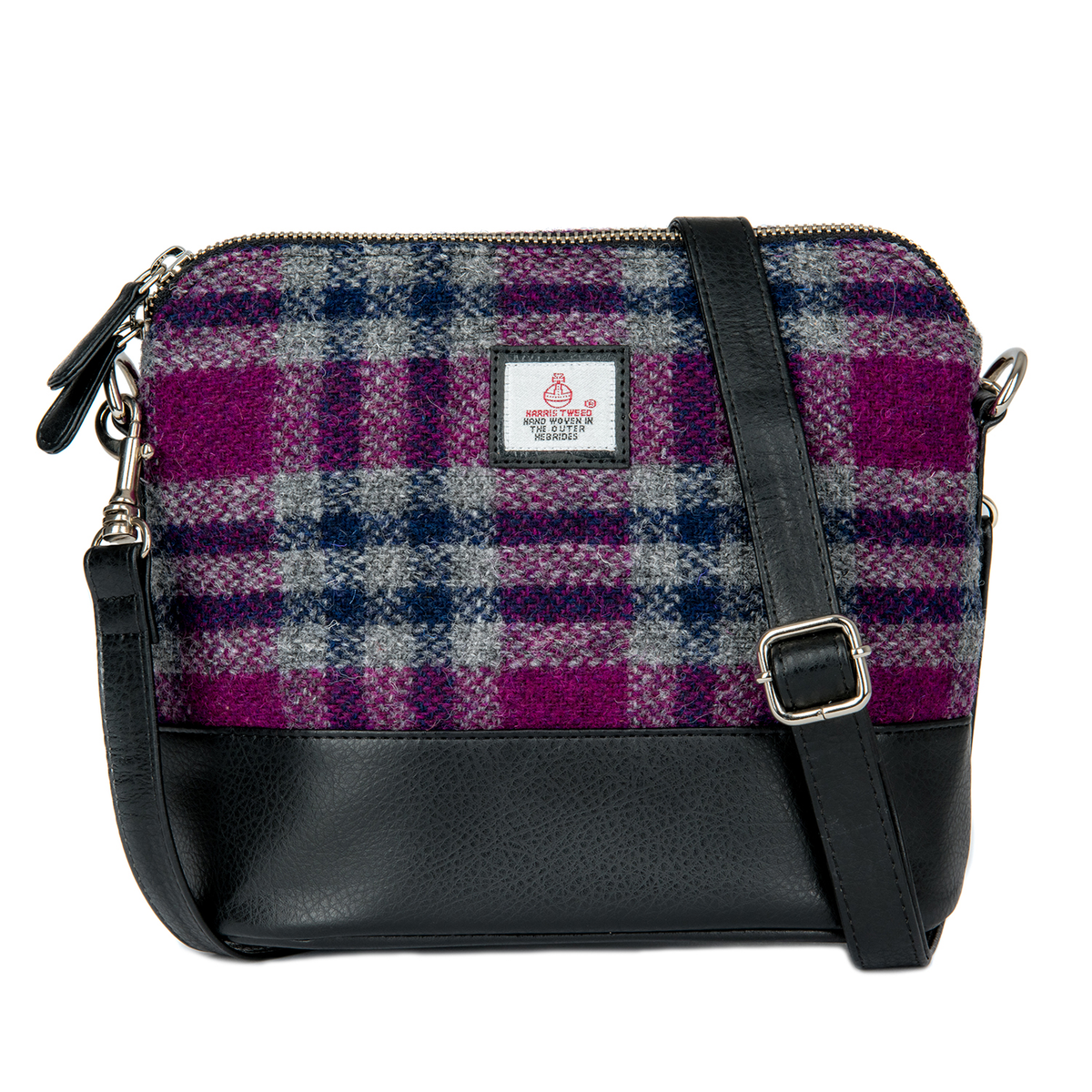 Square Shoulder Bag Pink Purple check