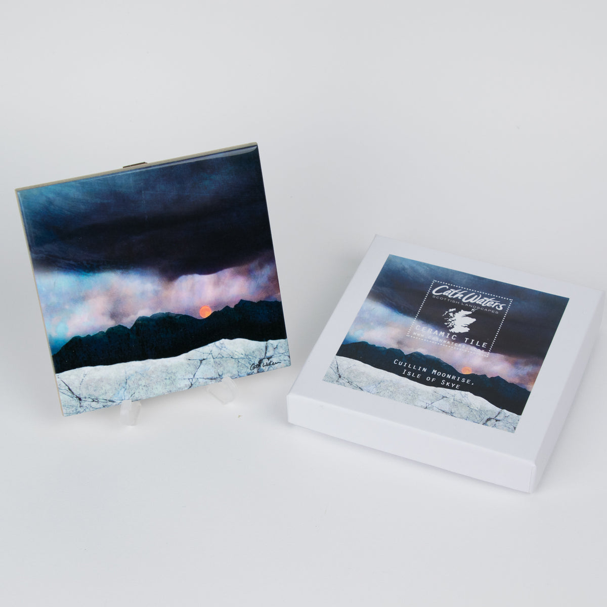 Strawberry Moonrise, Isle of Skye Ceramic Tile and Gift Box