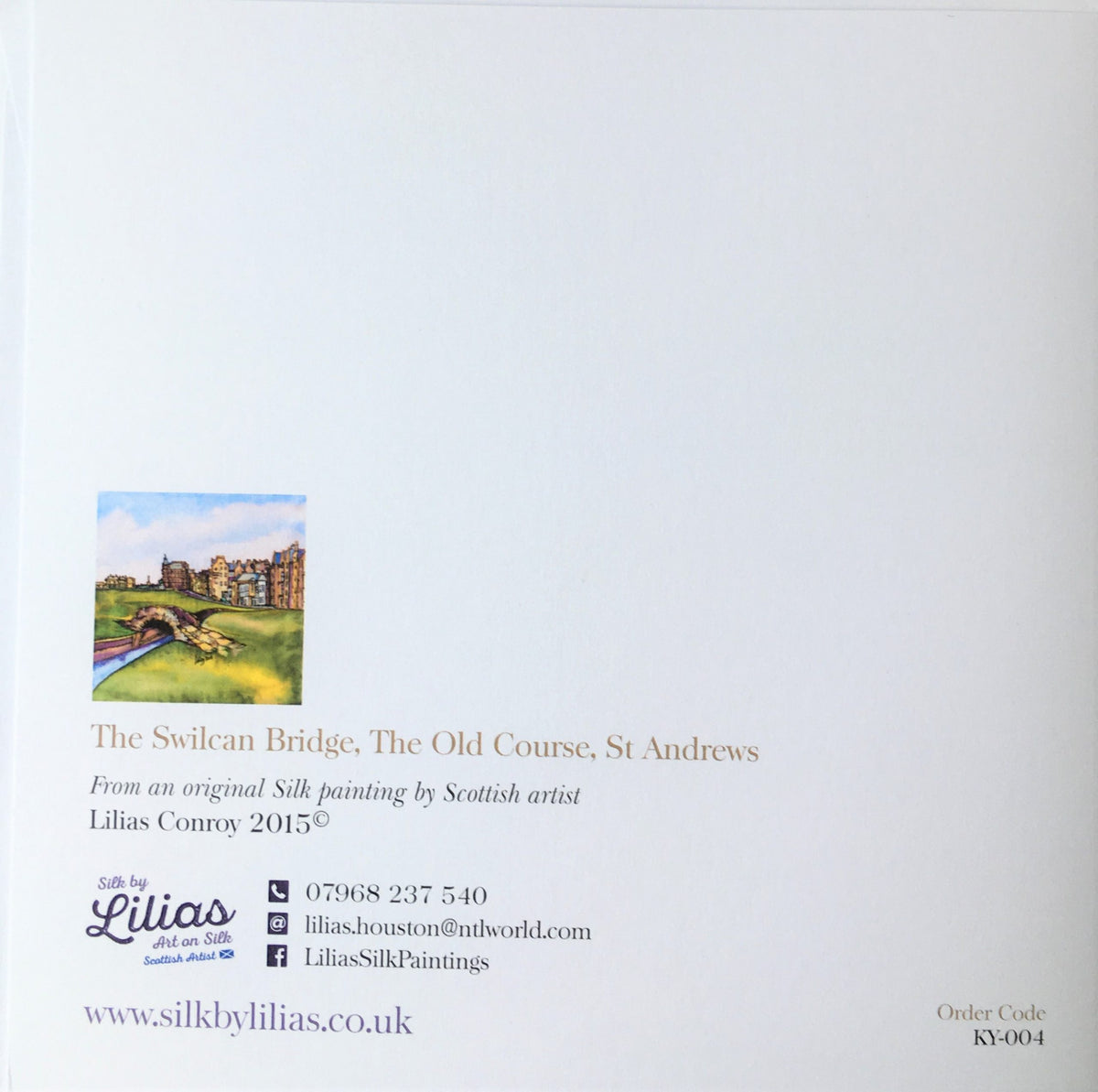 The Swilcan Bridge, The Old Course St Andrews Card – back