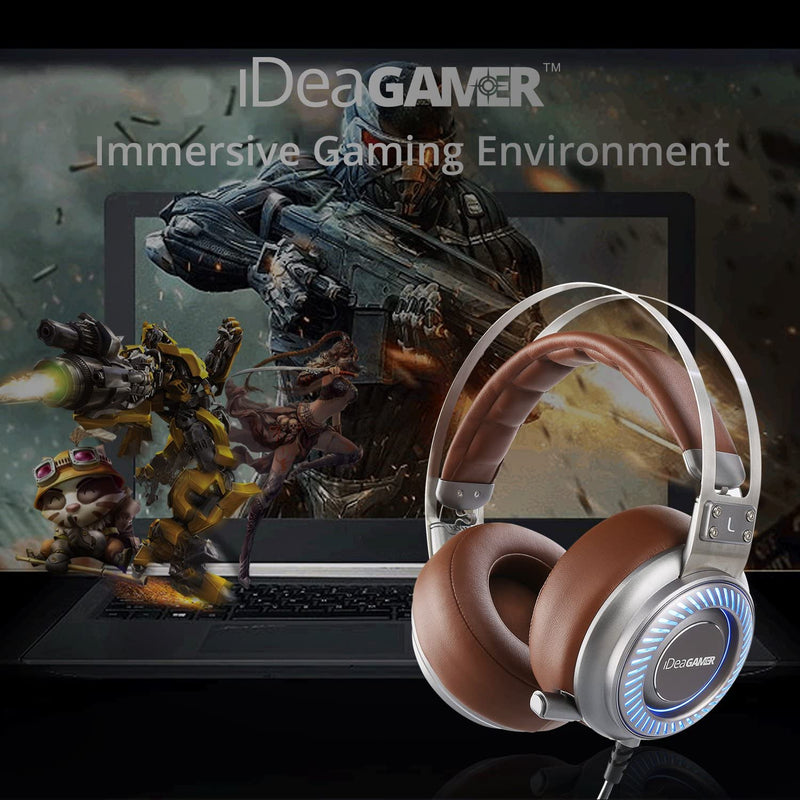 Gaming Headset, iDeaUSA S408 Gaming Headphones 7.1 Surround Sound Headphones USB Over Ear Headphones with Detachable Microphone Volume Control Noise Cancelling