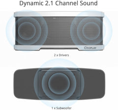 iDeaUSA W200 Wireless 2.1 Channel Bluetooth Speaker with Stereo 2x 5W Drivers Dual Passive Radiators and 1x 10W Subwoofer, 2 Mode Equalizers, Portable with Built-in Microphone