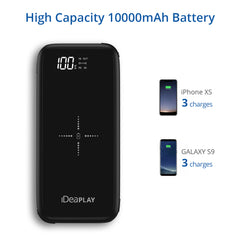 iDeaPlay Q100P 10,000 mAh Wireless Portable Charger w/Built-in Cables
