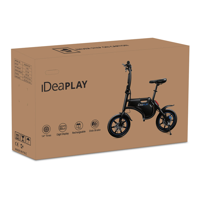 IdeaPLAY P10 Plus Foldable eBike with Basket & Bike Lock