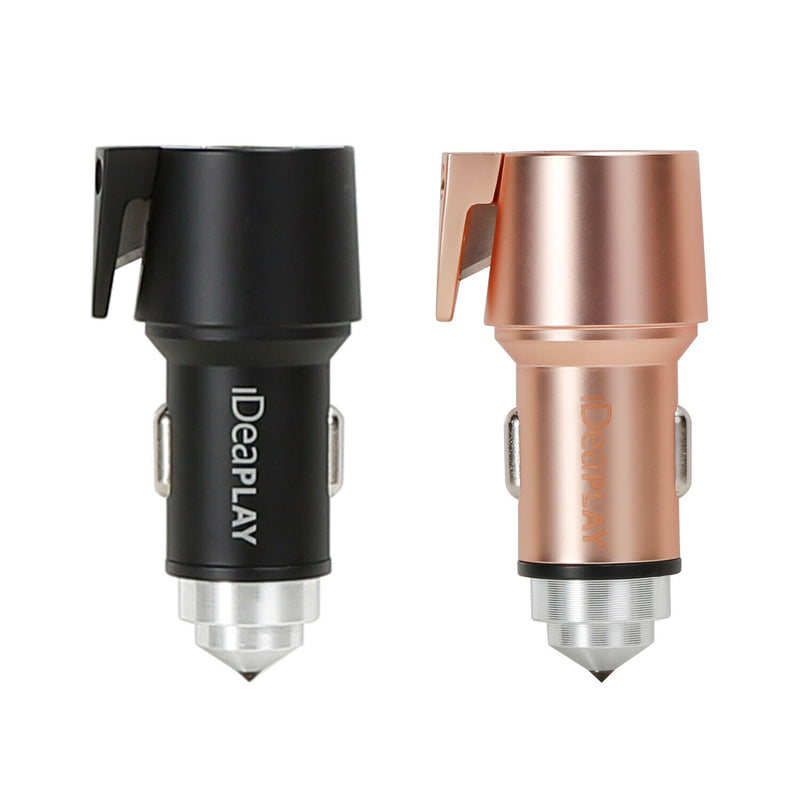 2 pcs / Pack iDeaPLAY Vehicle 3-in-1 Emergency Tool Car Charger w/Matching Cable