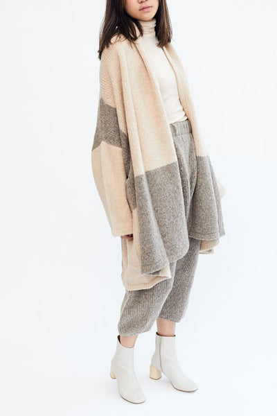 Atelier Delphine Baby Alpaca Haori Coat Color Blocking Made in Peru Oversized Super Soft Cozy Cardigan - Parc Shop