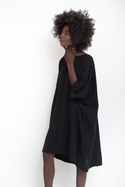 Uzi NYC Course Cotton Box Dress / Black