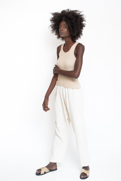Uzi NYC Textured Course Cotton Drop Crotch Pant Cream Off White Elastic Waist band Cropped High Waisted Made in Brooklyn NYC - Parc Shop