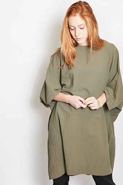 Uzi Coarse Cotton Box Dress / Moss