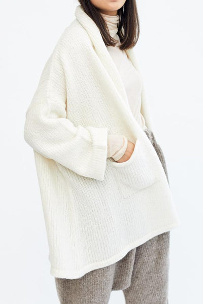 Atelier Delphine Baby Alpaca Haori Coat Cream Off White Made in Peru Oversized Super Soft Cozy Cardigan - Parc Shop
