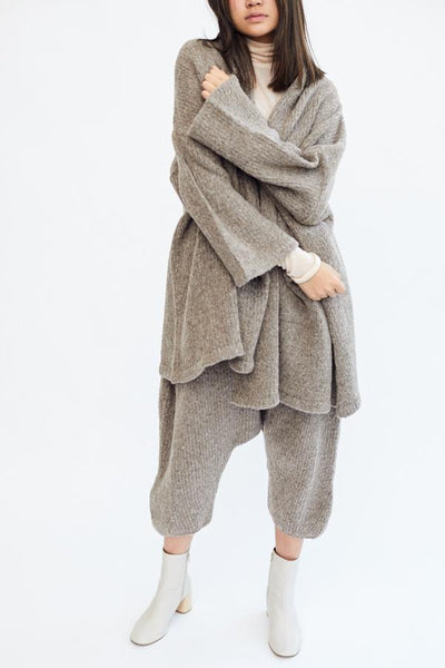 Atelier Delphine Baby Alpaca Haori Coat Deer Grey Gray Made in Peru Oversized Super Soft Cozy Cardigan - Parc Shop