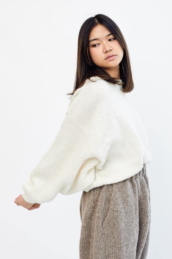 Atelier Delphine Balloon Sleeve Sweater Cream Off White Winter White Baby Alpaca Made in Peru - Parc Shop