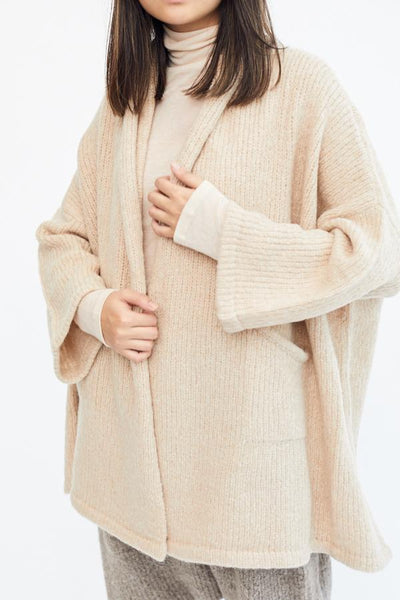 Atelier Delphine Baby Alpaca Haori Coat Grain Beige Taupe Made in Peru Oversized Super Soft Cozy Cardigan - Parc Shop
