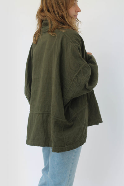 Atelier Delphine Kimono Jacket Hunter Green Japanese Cotton Cotton Gauze Made in USA - Parc Shop