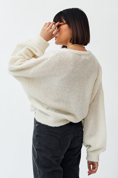 Atelier Delphine Balloon Sleeve Lightweight Sweater / Cream Parc Shop