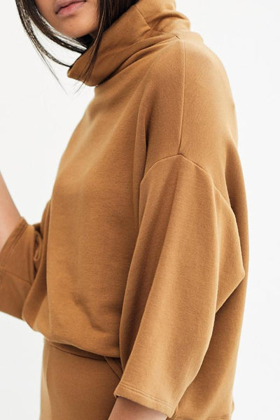 Corinne Bucket Sweater Camel French Terry Super Soft Draped Neck Loose Turtleneck Sweater Top Made in USA - Parc Shop