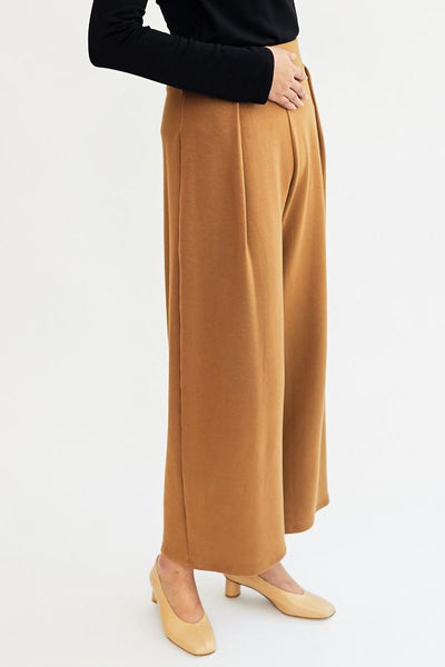 Corinne Jojo Pleat Pant Camel High Waist Cotton French Terry Front Pleat Wide Leg Soft Cozy Comfortable Trousers Handmade in LA - Parc Shop