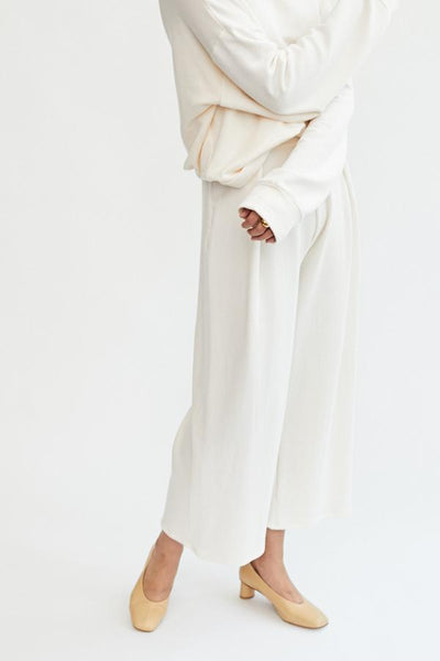 Corinne Jojo Pleat Pant Ivory Off White High Waist Cotton French Terry Front Pleat Wide Leg Soft Cozy Comfortable Trousers Handmade in LA - Parc Shop