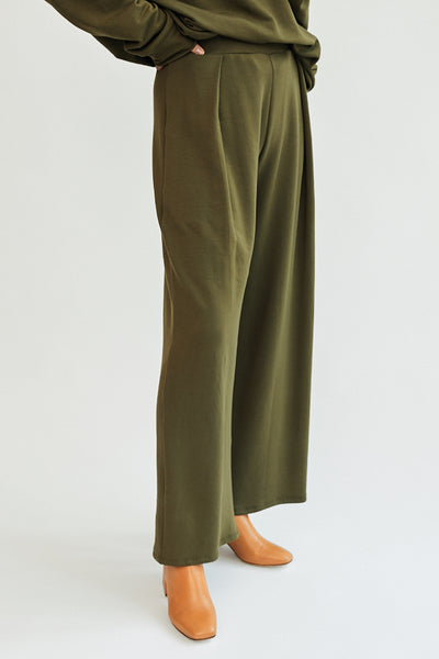 Corinne Jojo Pleat Pant Olive Green Off White High Waist Cotton French Terry Front Pleat Wide Leg Soft Cozy Comfortable Trousers Handmade in LA - Parc Shop