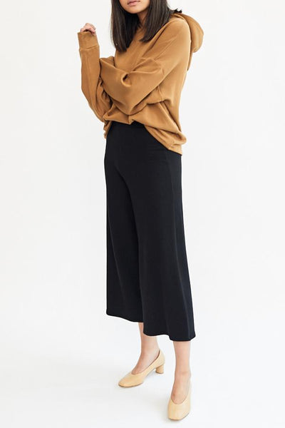 Corinne Lela Trouser Black Super Soft French Terry Culottes High Waist Cropped Made in USA - Parc Shop