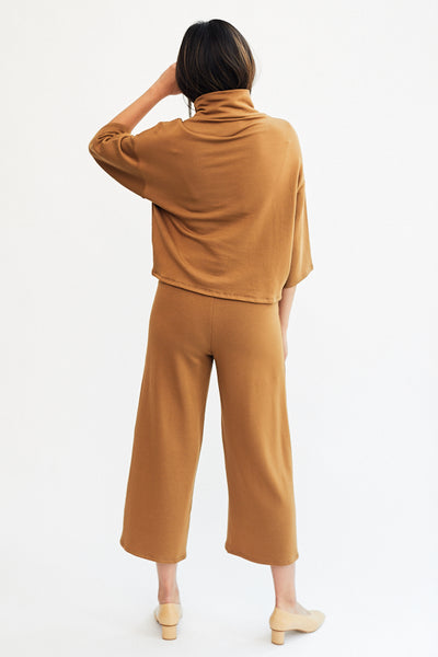 Corinne Lela Trouser Pants Camel Light Brown Tan  Made in USA Los Angeles Minimal Minimalist Soft Cozy French Terry - Parc Shop