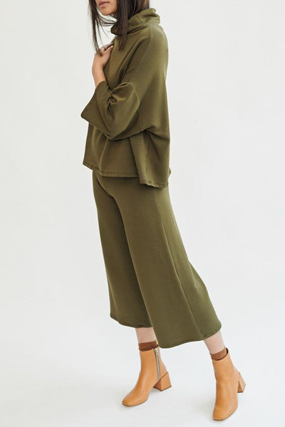 Corinne Jojo Pleat Pant Olive Green High Waist Cotton French Terry Front Pleat Wide Leg Soft Cozy Comfortable Trousers Handmade in LA - Parc Shop