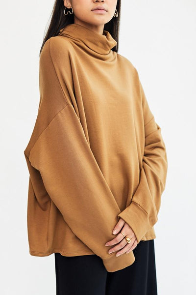 Corinne Ricci High Neck Tunic Camel Made in USA Los Angeles Minimal Minimalist Soft Cozy French Terry - Parc Shop