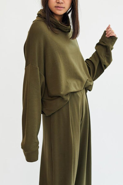 Corinne Ricci High Neck Tunic Olive Green Made in USA Los Angeles Minimal Minimalist Soft Cozy French Terry - Parc Shop