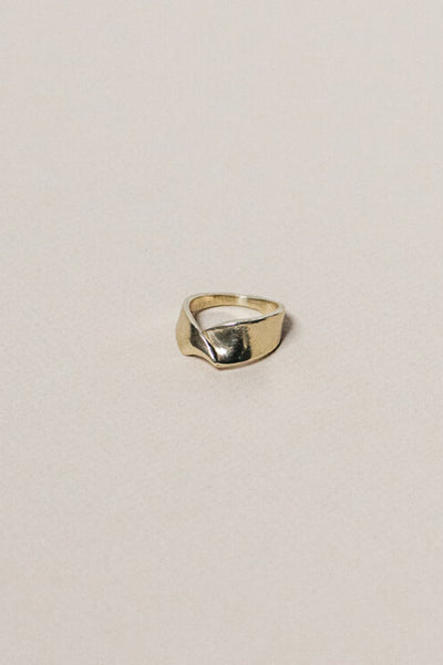 Kiki Koyote Fold Ring Handmade Brass 14k Gold Fill Filled Minneapolis Hand Carved Jewelry Minimal Minimalist - Parc Shop