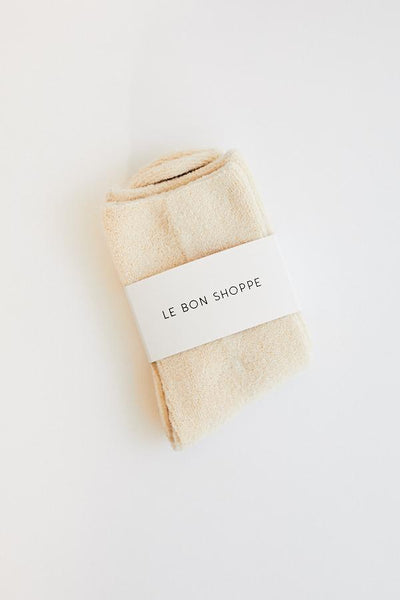 Le Bon Shoppe Cloud Socks Ecru White Off White Cream Minimal Minimalist Super Soft Cozy Socks - Parc Shop