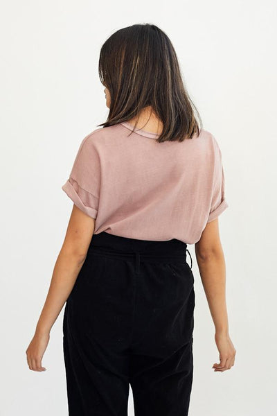 Le Bon Shoppe Her Tee T-Shirt Dried Rose Pink Clay Made in LA Super Soft Oversized Fit Garment Dyed Boyfriend Fit- Parc Shop