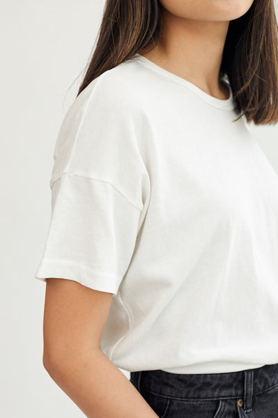 Le Bon Shoppe Her Tee T-Shirt White Made in LA Super Soft Oversized Fit Garment Dyed Boyfriend Fit- Parc Shop