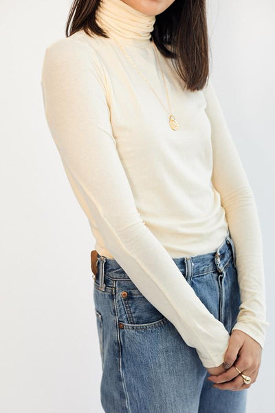 Mijeong Park Roll Neck Jersey Top Cream Off White Tencel Cotton Silky Soft Smooth Turtleneck - Parc Shop