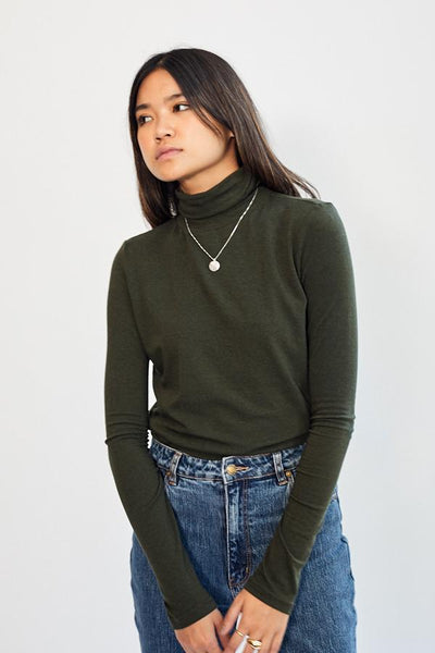 Mijeong Park Roll Neck Jersey Top Olive Green Tencel Cotton Silky Soft Smooth Turtleneck - Parc Shop