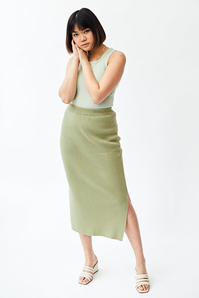 Mijeong Park Ribbed Knit Midi Skirt / Light Green Parc Shop