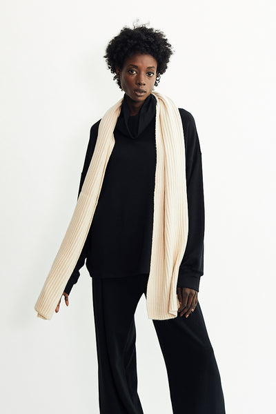 Ribbed Scarf / Ivory