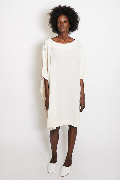 Uzi Coarse Cotton Box Dress / Cream