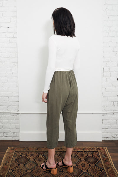 Uzi Course Cotton Drop Crotch Pant Moss Green Cotton Textured Handmade in Brooklyn NYC Elastic Waistband - Parc Shop