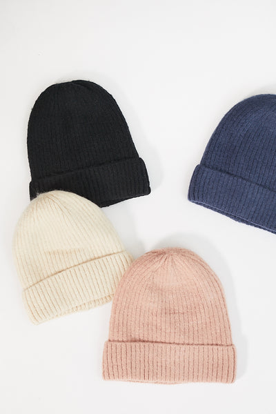 Cashmere Blended Ribbed Beanie