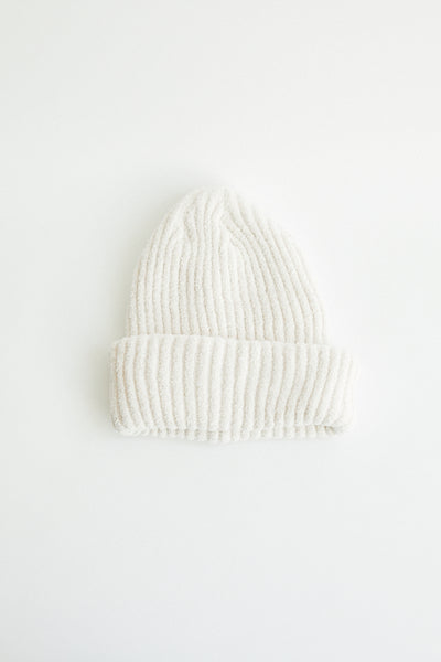 Super soft ribbed beanie in ivory