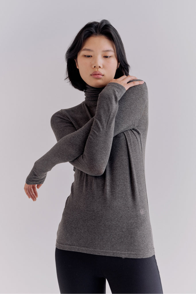 Mijeong Park Roll Neck Jersey Top / Charcoal Parc Shop