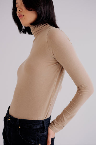 Mijeong Park Roll Neck Jersey Top / Taupe Parc Shop