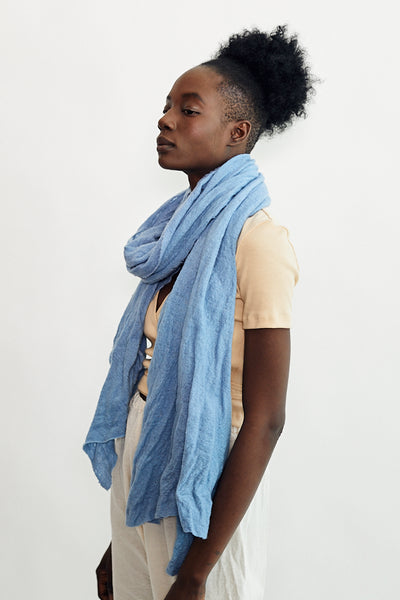 Scarf Shop Medium Wool Cloud Scarf Lake Blue Hand Dyed Cotton Gauze Handmade - Parc Shop