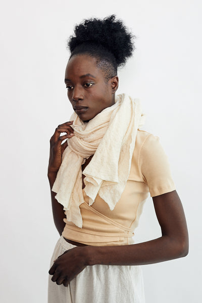 Scarf Shop Baby Wool Cloud Scarf Straw Cream Off White Hand Dyed Minneapolis Organic Boiled Wool - Parc Shop