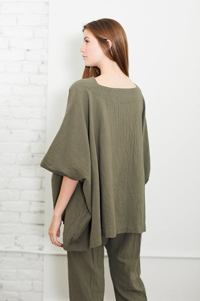 Uzi Cube Top Moss Hand Sewn Brooklyn NYC Oversized Boat Neckline One Size Cotton Tunic Top - Parc Shop