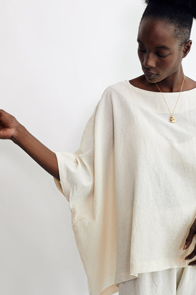 Uzi Cube Top Cream Hand Sewn Brooklyn New York Cotton Gauze Oversized - Parc Shop